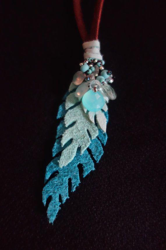 Aqua Leaf Drop Necklace