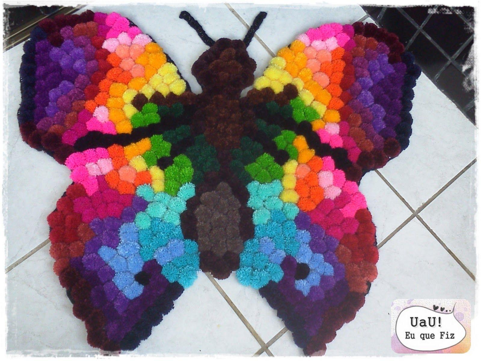 Pom Pom butterfly rug