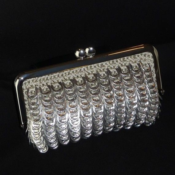 Pop Tab Evening Bag  Platinum ♥ by DianeKDesigns on Etsy