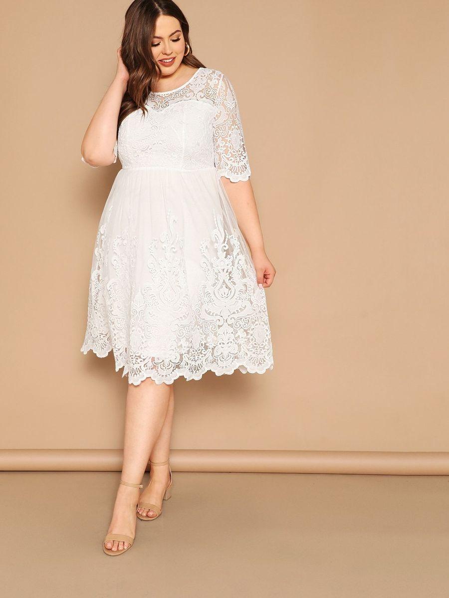 Plus Embroidered Mesh Overlay Scalloped Sweetheart Dress Half Sleeve Dresses Sweetheart Dress Summer Dresses For Women [ 1199 x 900 Pixel ]