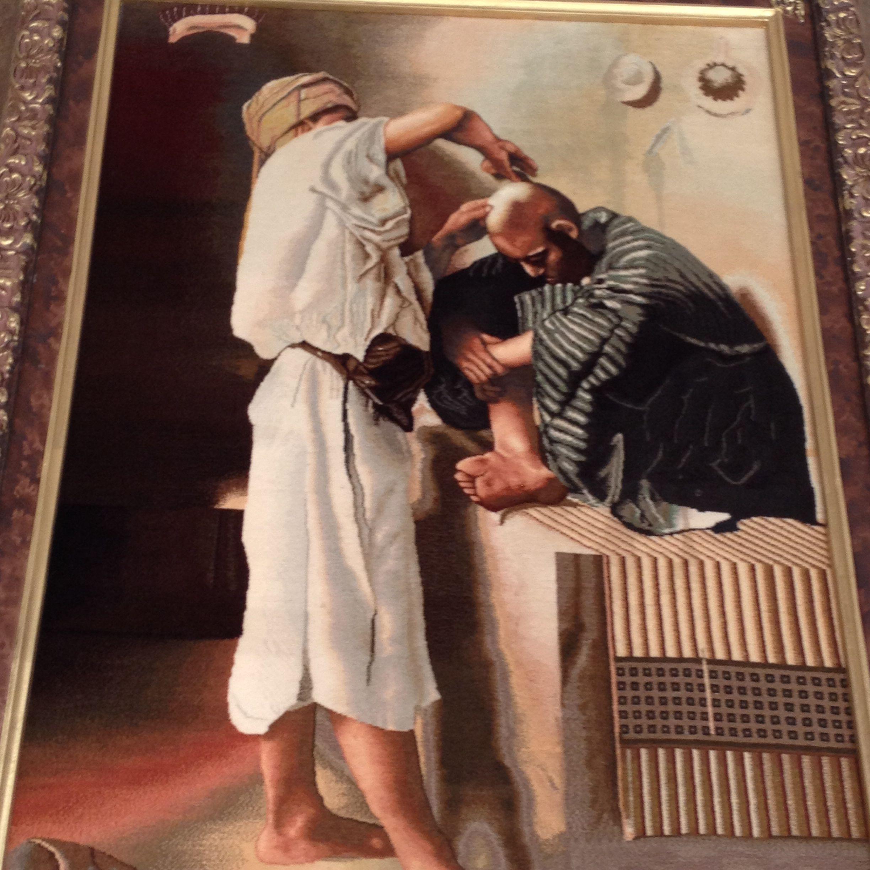 Persian carpet board. Barber