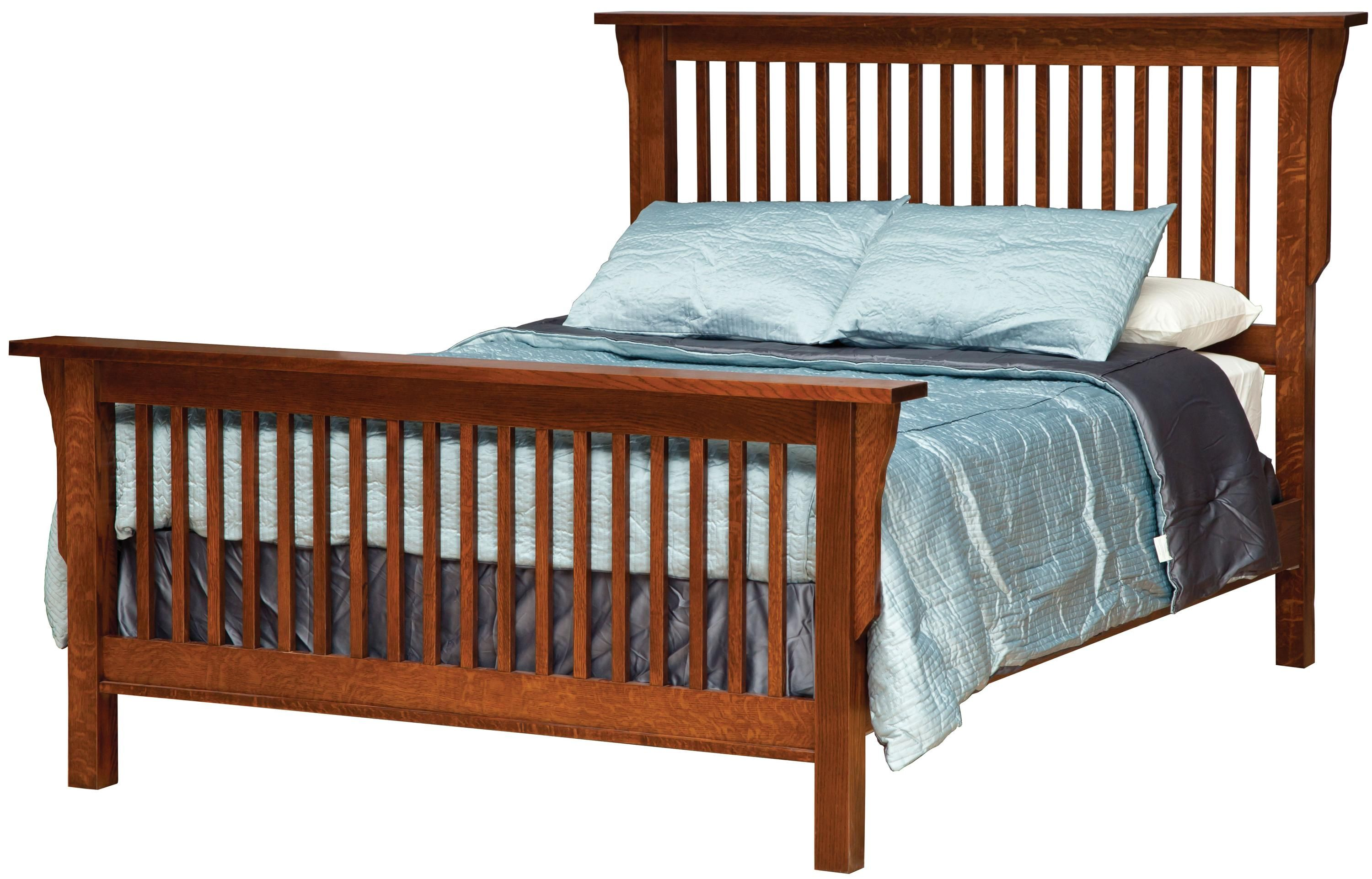 California king mission style frame bed with headboard footboard slat detail