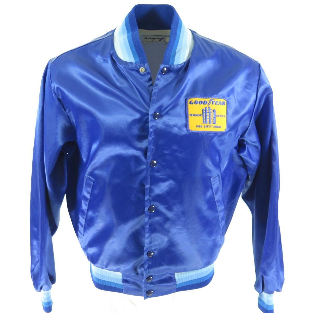 Vintage 80s Ford Racing Jacket Large Satin Nylon Shiny Button Up Black Jacket