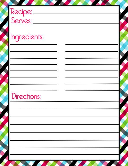 Diva Plaid Recipe Page with Filler Page - These are the best for - homemade cookbook template
