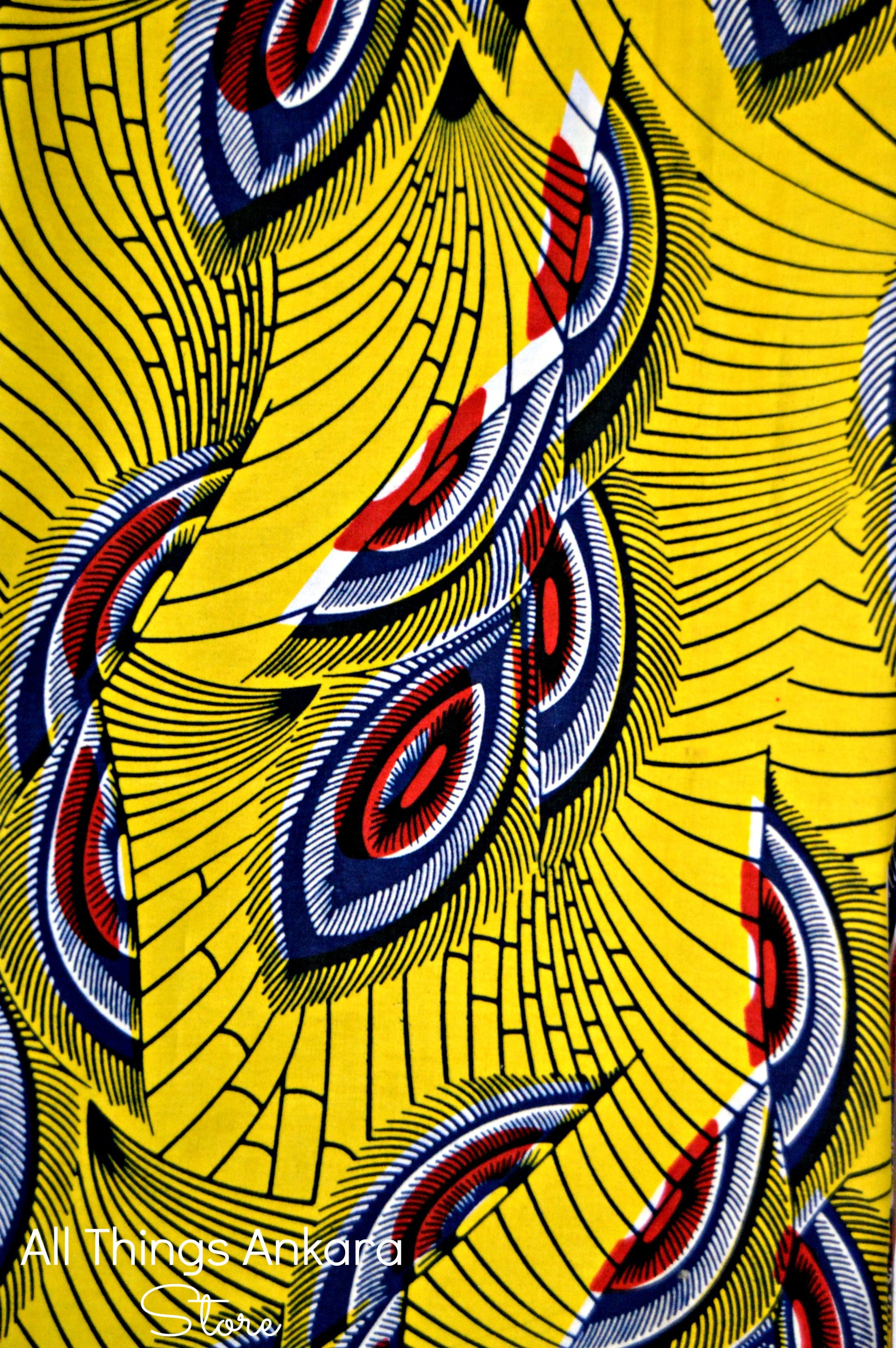 Ankara Fabric of The Day: Yellow Blue Red White Leaves Wax Prints ...
