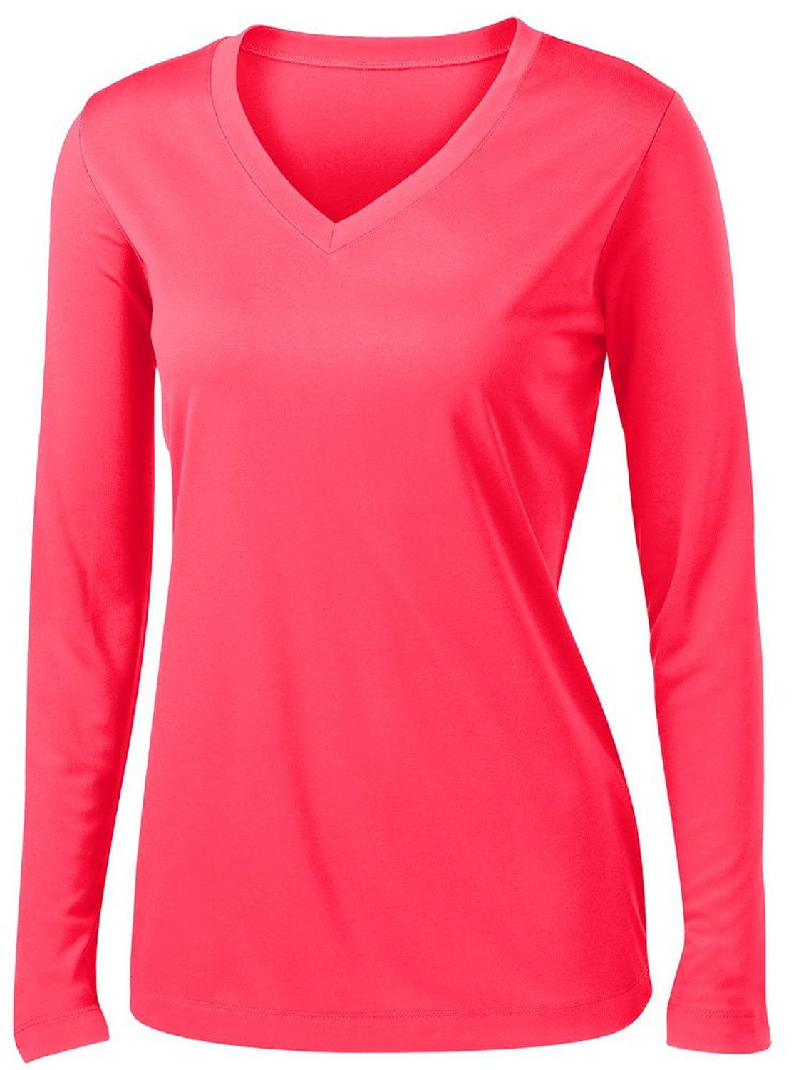 4eb0623aff15f Ladies Long Sleeve Moisture Wicking Athletic Shirts Sizes XS-4XL at ...
