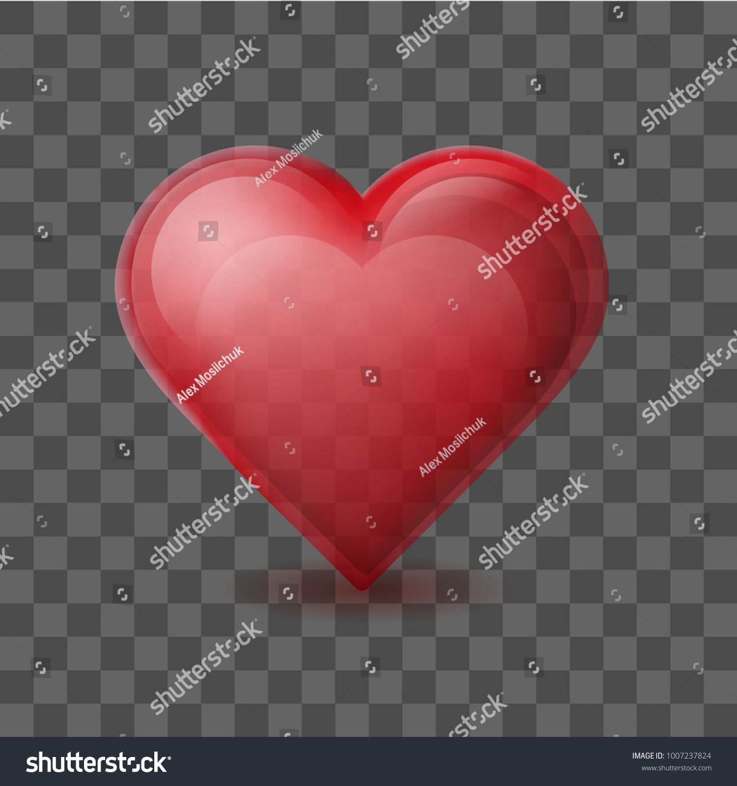 Red Heart On Background With The Transparent Effect Glossy Crystal