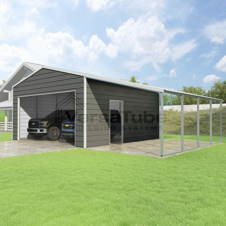 Frontier Garage With Lean To 20 X 20 X 10 In 2020 Home Building Kits Shed Big Sheds