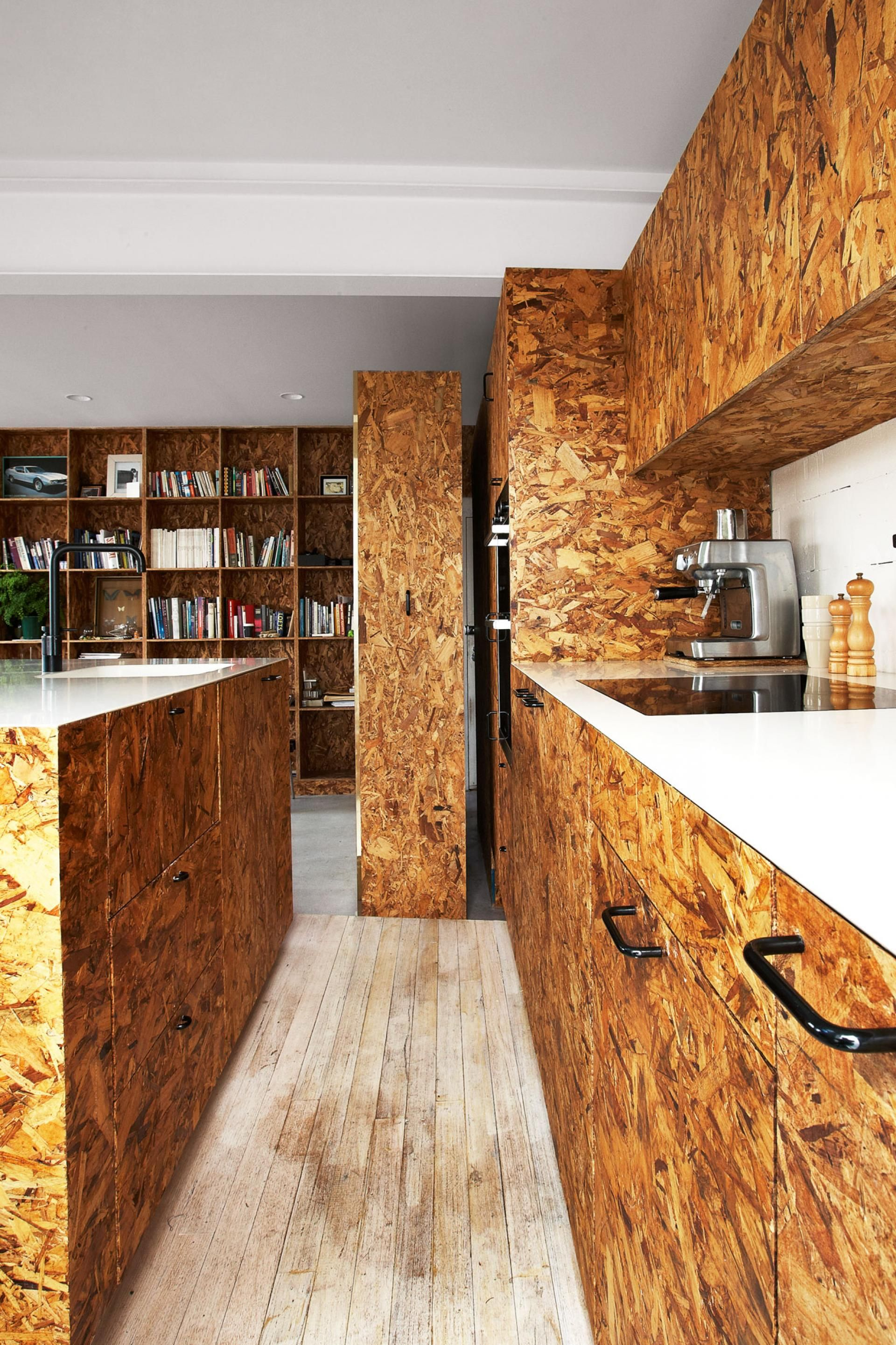 Strandboard sheeting used for doors and panels in this kitchen good use of recycled wood by for What size osb for exterior walls