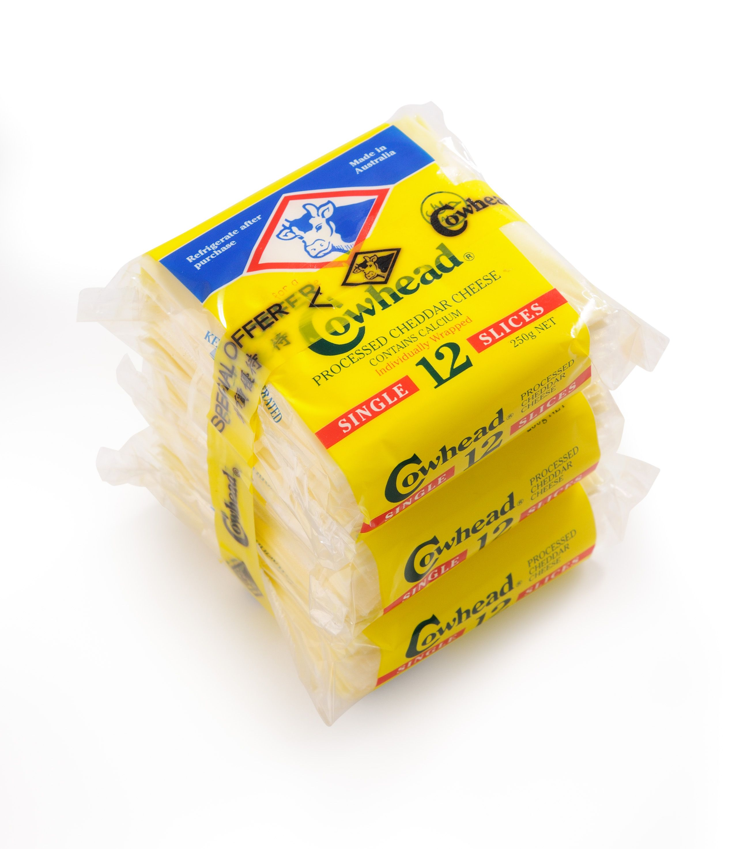 Cowhead Processed Cheese Slices 12s bundle pack