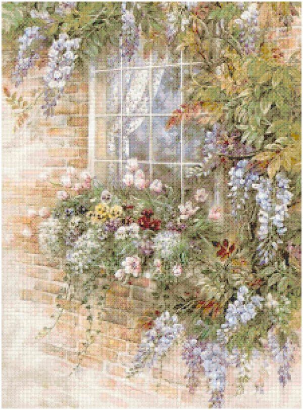 Cottage Crafts: Free Garden Window Counted Cross Stitch ...