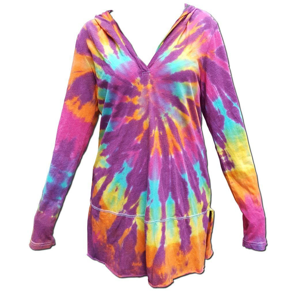 Magenta dominant rainbow spiral summer hoodie with images