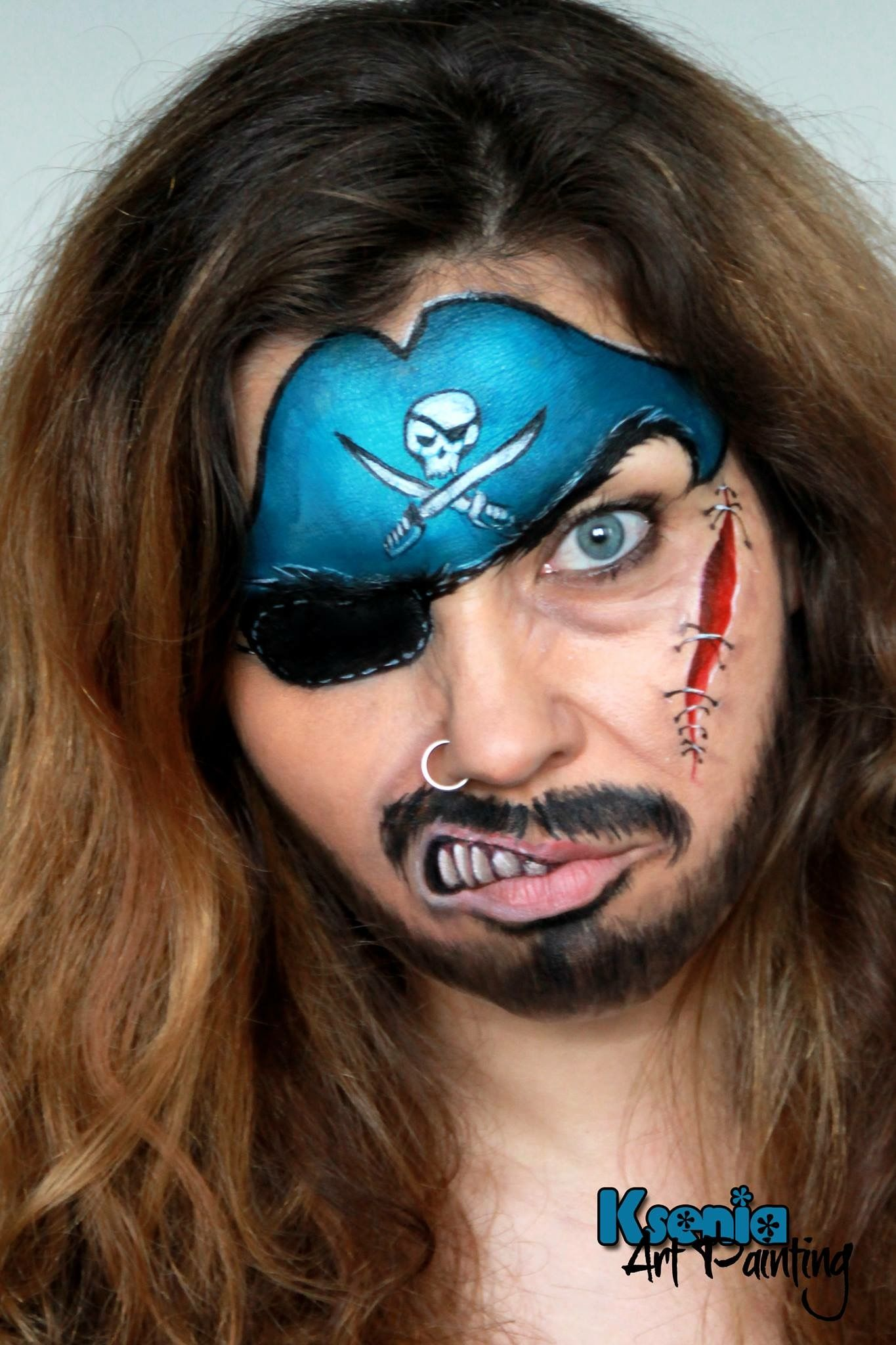 Very Well Done Pirate Face Painting Halloween Pirate Face Paintings Face Painting Easy