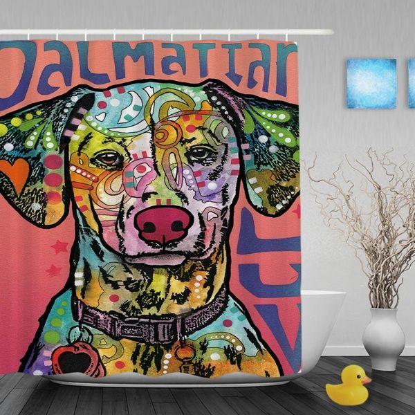 Dalmattian Luv Shower Curtain Bathroom Home Living Bedroom With Hooks Durable Waterproof Fabric