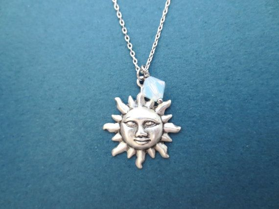 Sun Silver Necklace Sun Jewelry Opal Swarovski Bead by Gliget