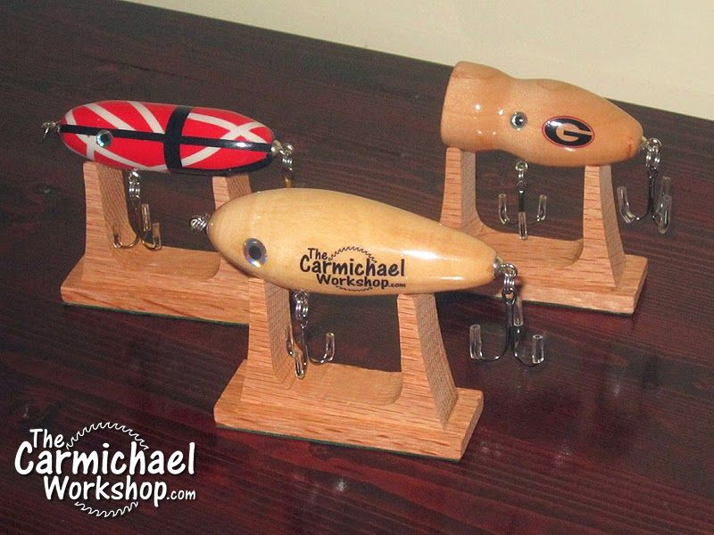 Display custom and antique fishing lures on a nice wooden for Fishing lure display