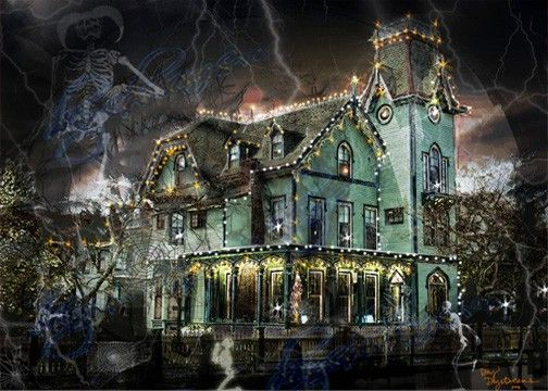 Halloween, Victorian Haunted House, Surreal Decoration, Ghoulish - halloween decorations com