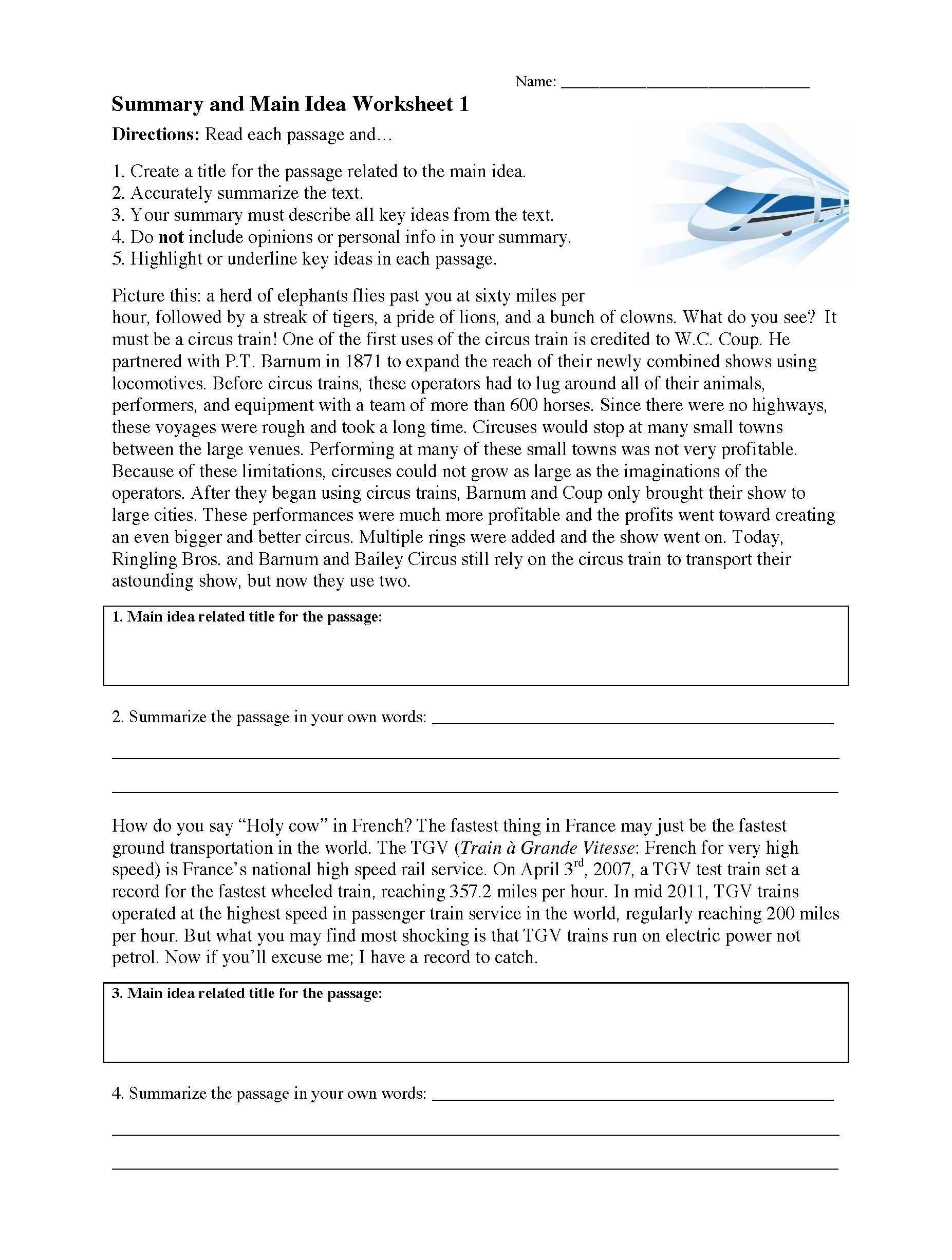Main Idea Fourth Grade Worksheets Summarizing Worksheets Learn To Summarize In 2020 Main Idea Worksheet Summarizing Worksheet Worksheet Template