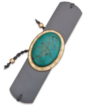 Inc International Concepts Gold-Tone Turquoise-Look Faux-Leather Cuff Bracelet, Only at Macy's - Green