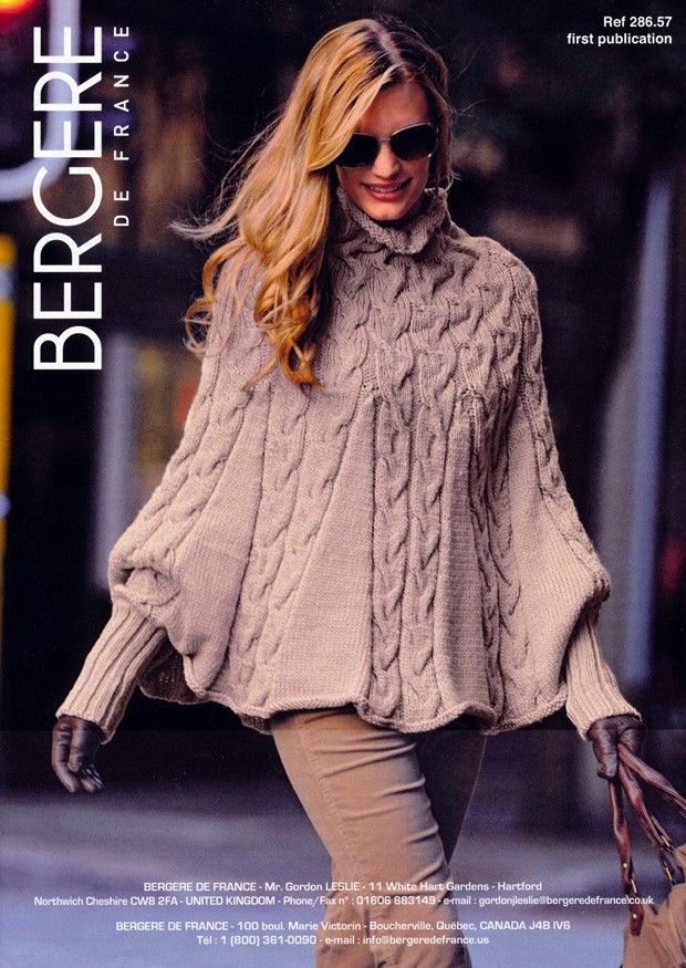 Poncho in Bergere de France Magic+ (286.57) | Chunky Knitting Patterns | Knitting Patterns | Deramores