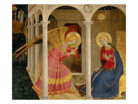 Giotto: Cortona Altarpiece with the Annunciation    by Fra Angelico