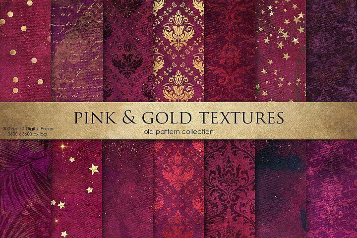 Valentines Pink Gold Textures creative paper Graphics ...