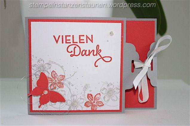 Stempeln, Stanzen, Staunen, Thank you Card handmade with Stampin' Up!, Danke Karte, Von großer Bedeutung, Elegant, Butterfly, Schmetterling, Timeless Textures, Calypso Coral, Tag, Wedding, Hochzeit, BastelBazzzille