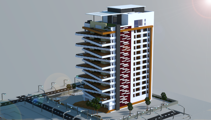 minecraft apartment building. A Modern Apartment Building i made in minecraft  Download link schematic http