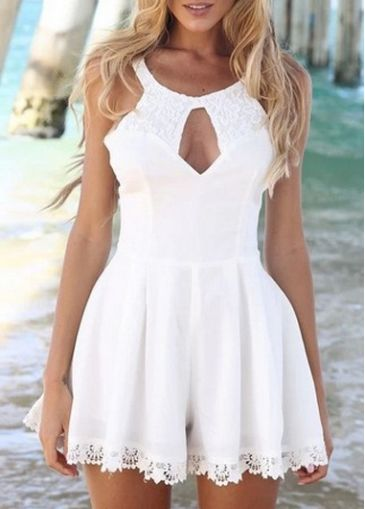 91e9f5424f15 Alluring White Round Neck Sleeveless Lace Rompers for Woman ...