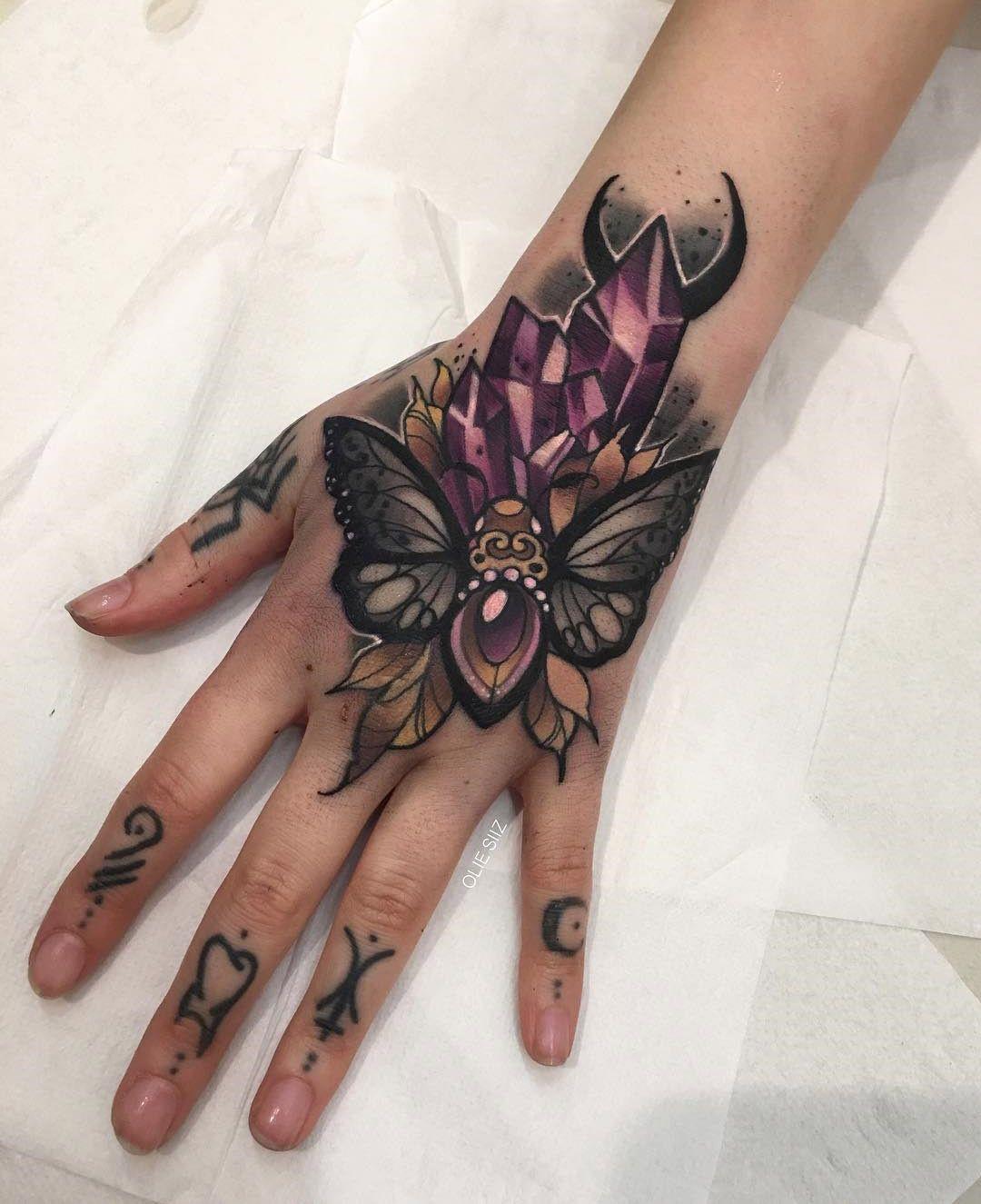 Hand tattoos tattoo ideas hands body art tattoo s floral tattoo - Moth Crystals Girls Hand Tattoo Best Tattoo Ideas Designs