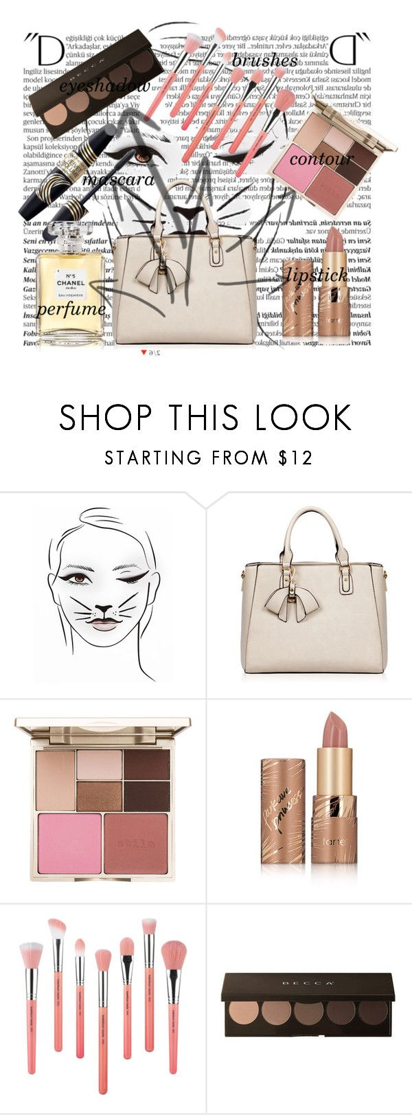 """""""inside the bag"""" by rae-chanel ❤ liked on Polyvore featuring beauty, Balmain, Stila, tarte, Bdellium Tools, Max Factor and Chanel"""
