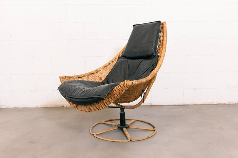 Gerard Van Den Berg Leather And Rattan Swivel Chair | From A Unique  Collection Of Antique