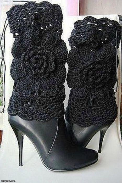 Black Floral Crocheted Boot Covers at sam.mirtesen.ru Фото собраны в ...
