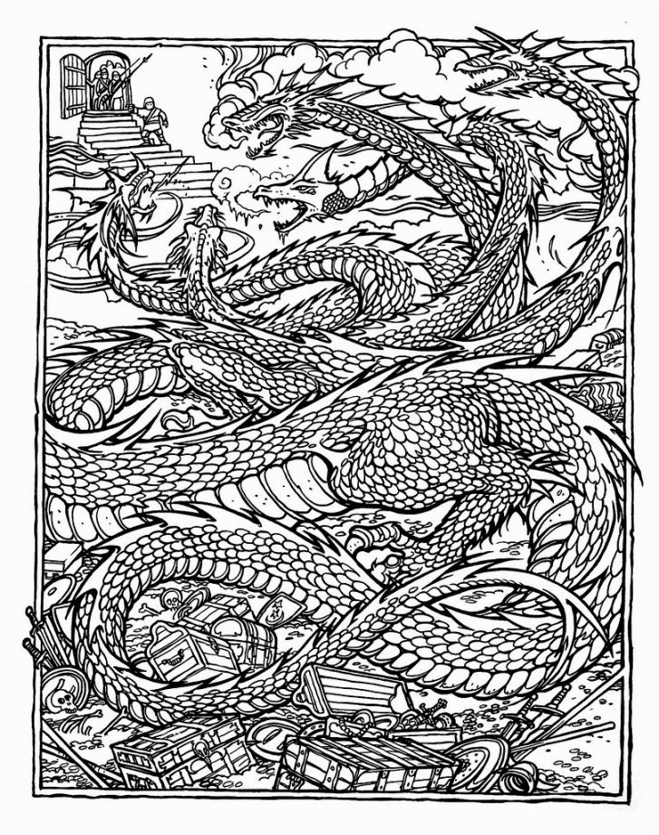 Advanced Coloring Books Dragon Coloring Page Detailed Coloring Pages Printable Coloring Pages
