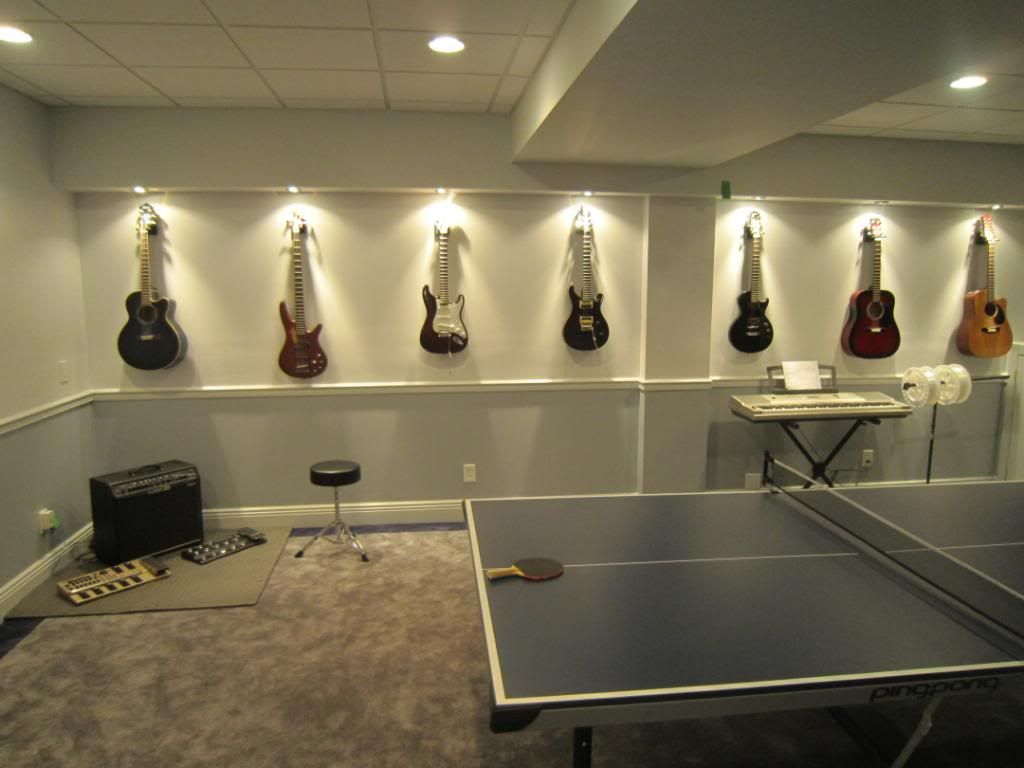 i like the guitar mounting with the lights maybe a wall for a media room