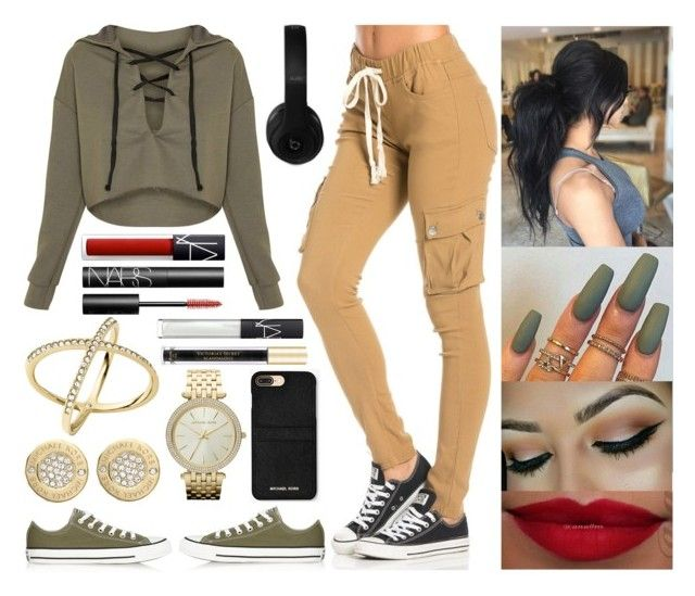 """""""Street Style"""" by jessicagrewal ❤ liked on Polyvore featuring Converse, MICHAEL Michael Kors, Michael Kors, NARS Cosmetics, Victoria's Secret and Beats by Dr. Dre"""