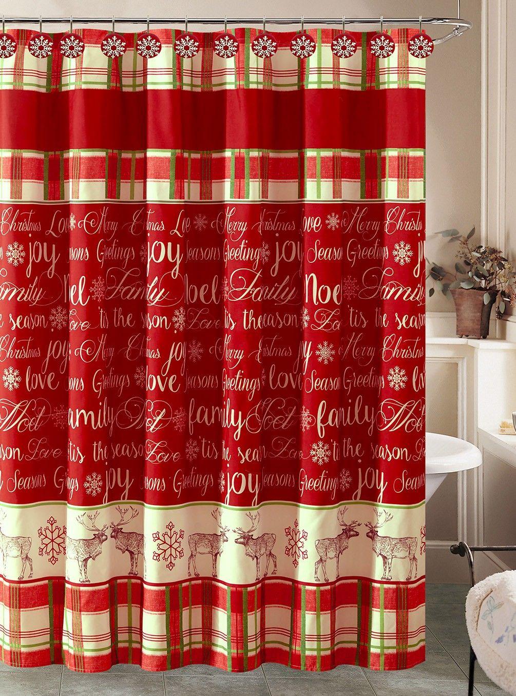 Beatrice Seasons Joy Christmas Holiday Shower Curtain And 12 Shower Hooks Bathroom Set Holiday Shower Curtains Bathroom Sets Christmas Bathroom