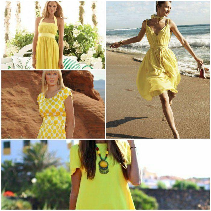 Kleider blau gelb