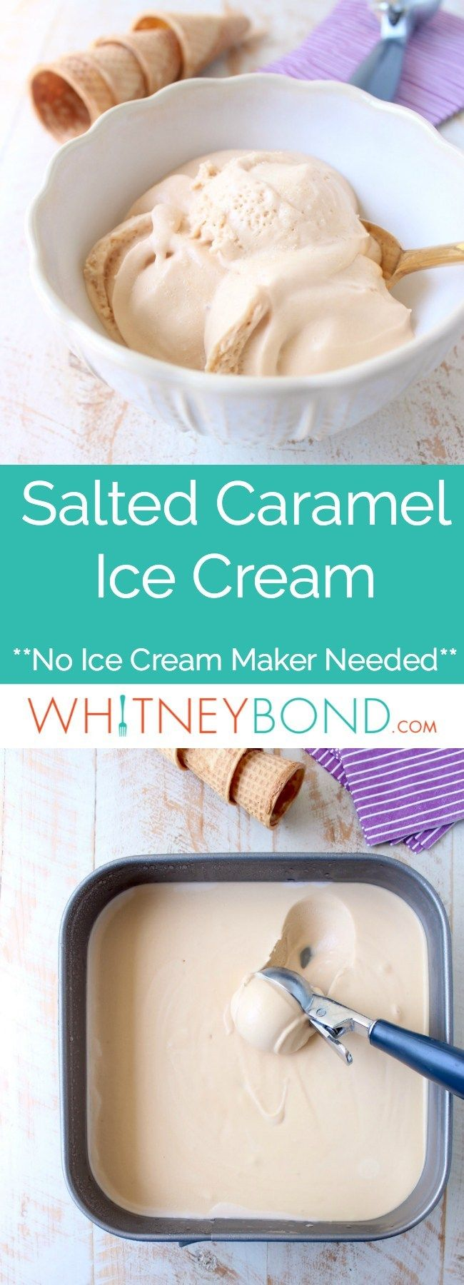 This No Churn Salted Caramel Ice Cream Recipe is made without an ice cream maker, making it an easy homemade ice cream recipe that is totally delicious! #easyhomemadeicecream