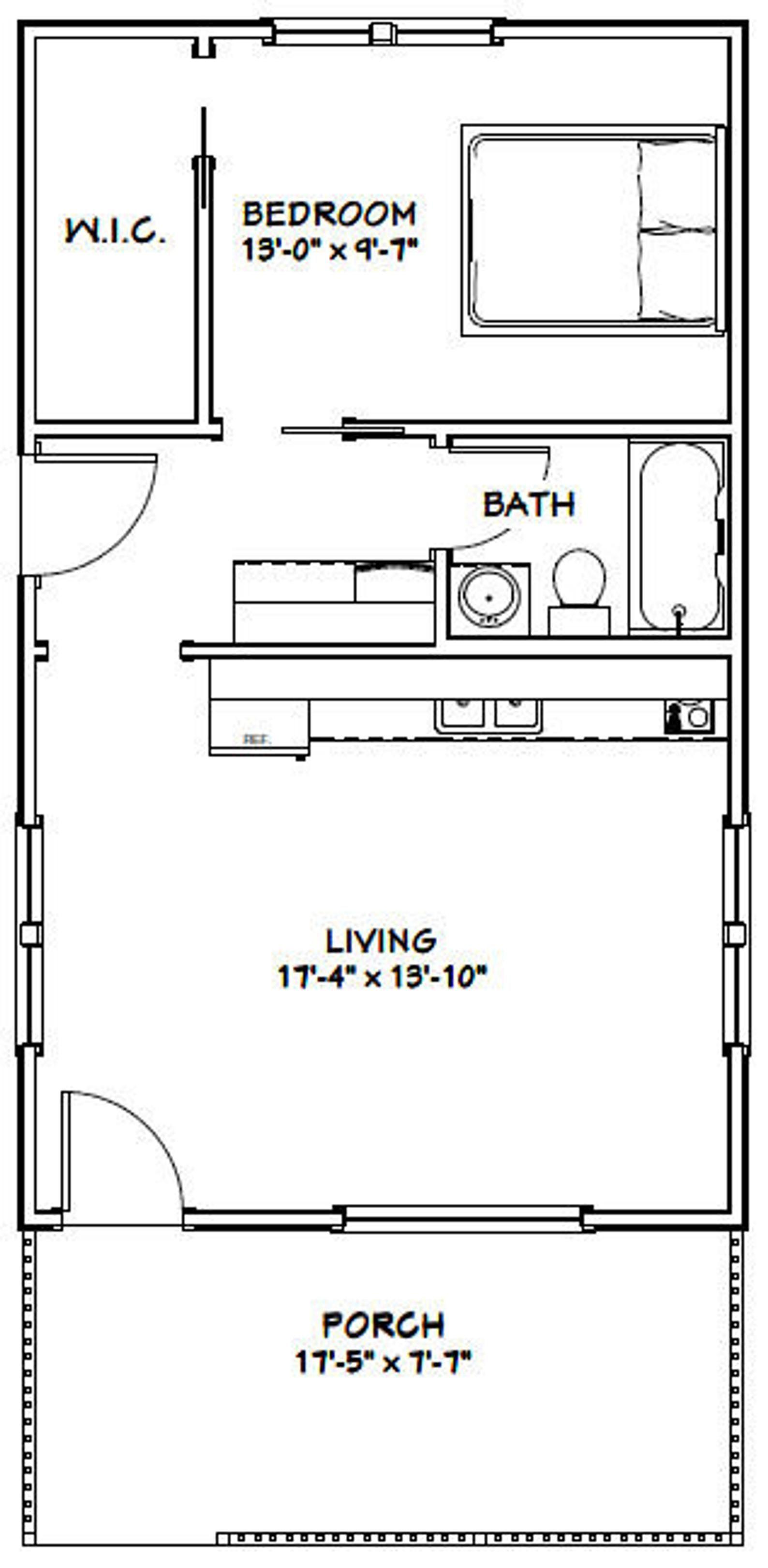 18x30 House 1 Bedroom 1 Bath 540 sq ft PDF Floor Plan Instant Download Model 4H