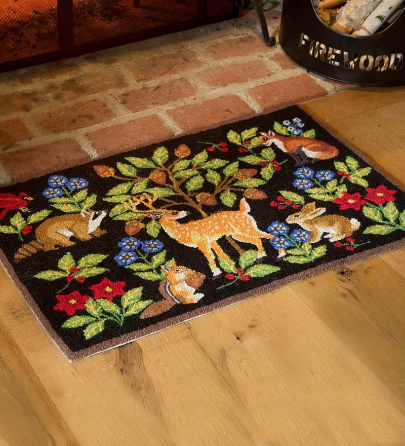Discover The Serene Woodland Charm Of Our Delightfully Detailed Rug Stephanie Stouffer S Original Design Is Hooked Int Animal Rug Hooked Wool Woodland Animals