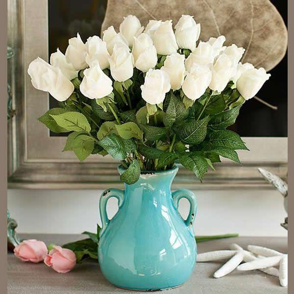 Decoración de Flores Artificiales, Caucho, con Plástico, Rosa, más