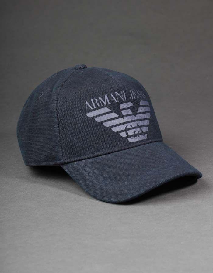 5aec287a42239 Armani Jeans Navy Woven Big Logo Cap