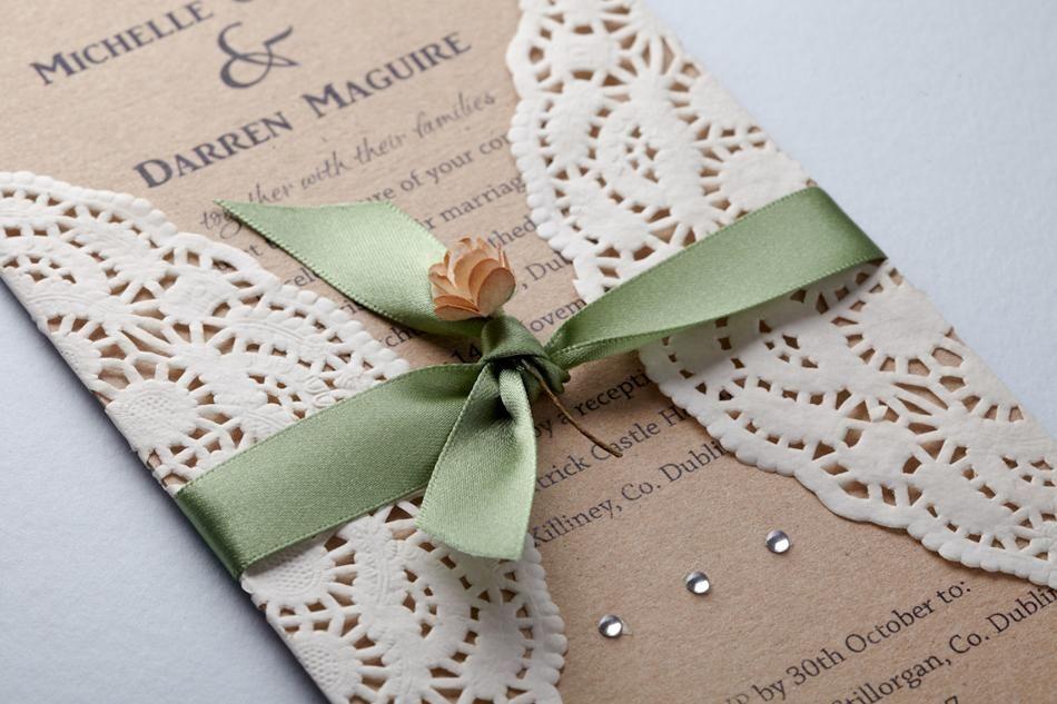 Green Lace Best Handmade Wedding Invitations | Wedding Invitations ...