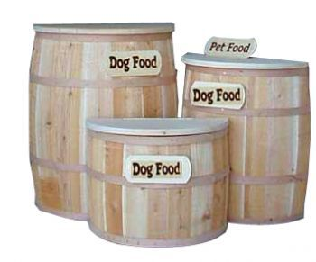 Now Keep Your Dogs Prying Nose Away From Their Food, With These Handmade  Wooden Barrels. These Half Barrel Freeport Dog Food Containers Fit Right  Against ...
