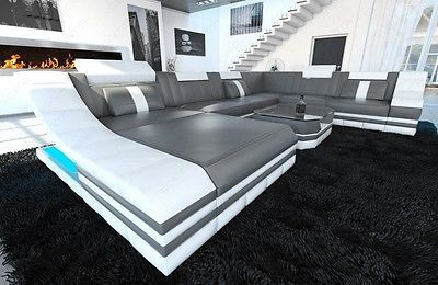 Details Zu Ledercouch Luxus Wohnlandschaft Turino Xxl Led