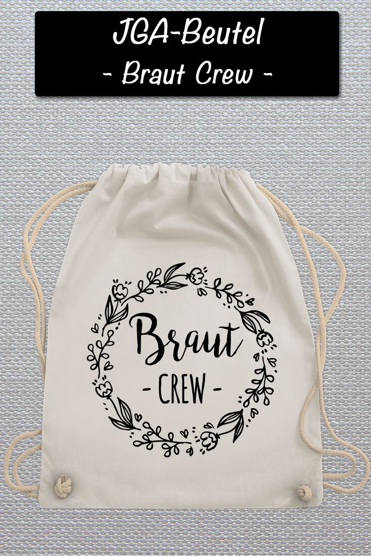 Photo of Shirtracer – JGA hen party – bride crew floral wreath black – gym bag and cloth bag made of organic cotton