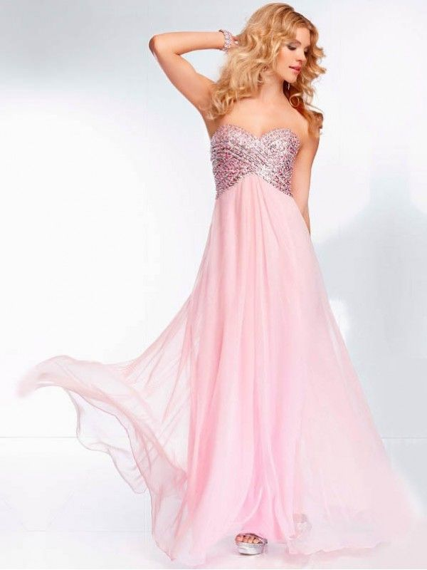 Sleeveless Beaded Sweetheart Floor Length A Line Chiffon Prom Dress ...