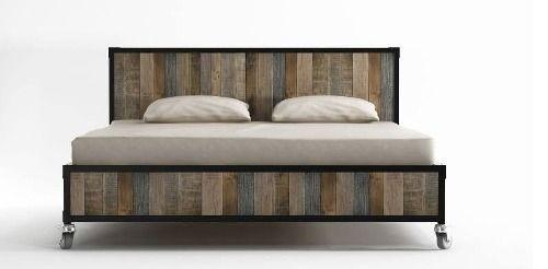 cama de 2 plazas en hierro y madera - respaldo -vintage-ind. | CAMAS ...