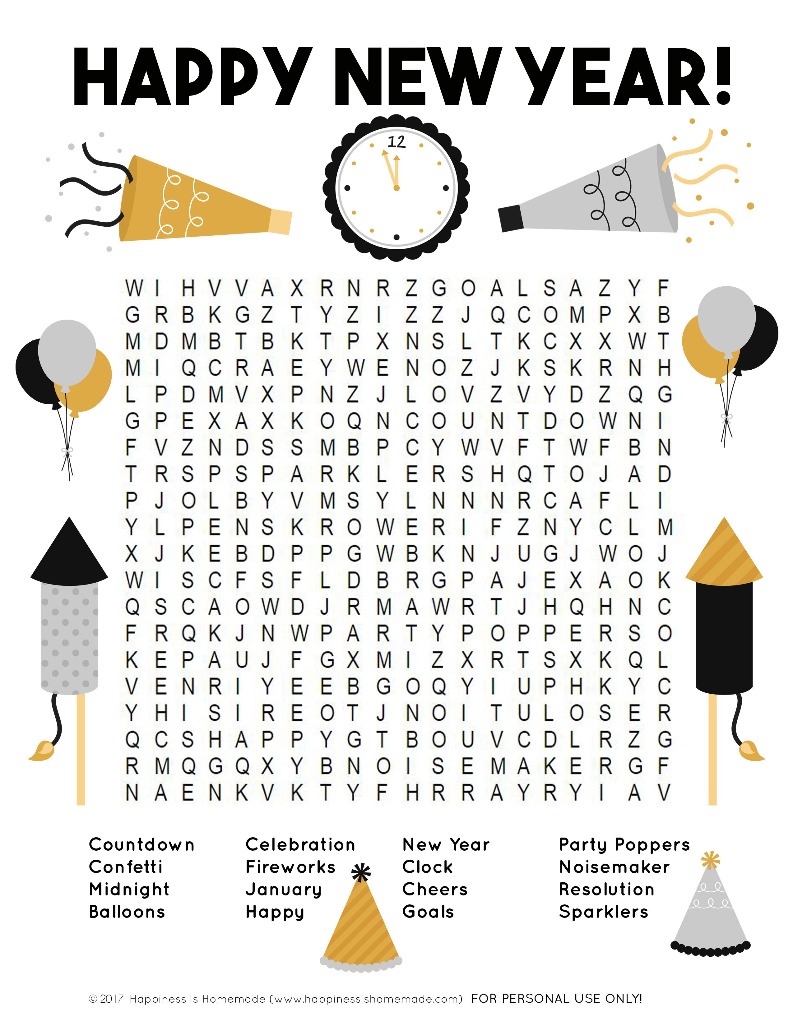 This Fun New Year S Word Search Printable Puzzle Is A Ton